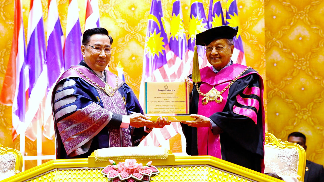 Dr Mahathir awarded honorary Thai doctorate by Rangsit University