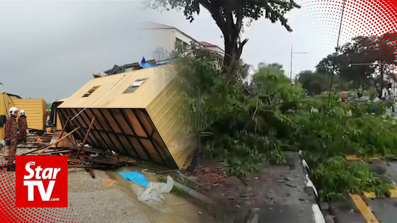 Storm At Penang Island: Freak Storm Overturns Container Housing, Falls Trees In