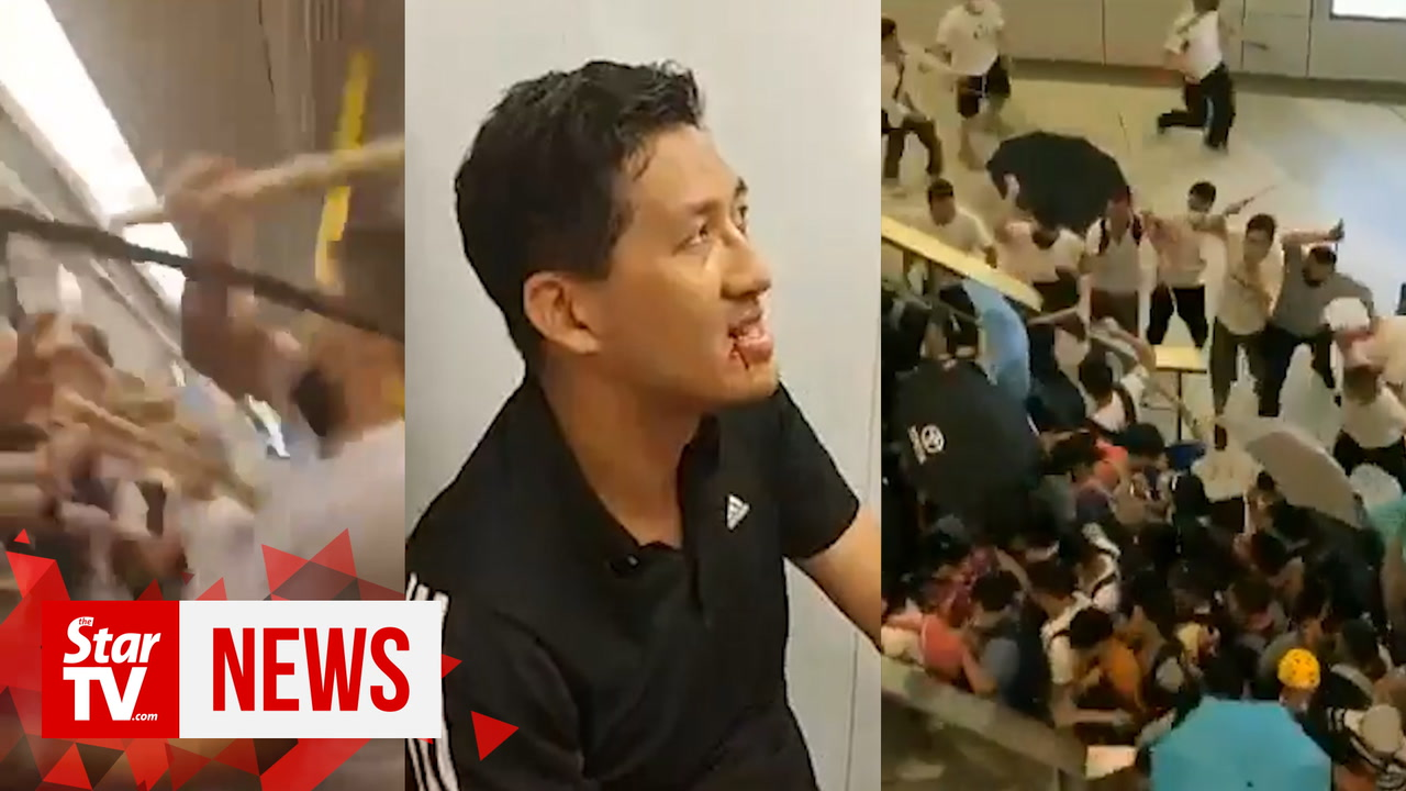 Triad gangster attack in Hong Kong after night of violent protests